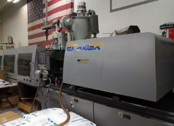A used 198 ton Toshiba all-electric plastic injection molder for sale from 2011.